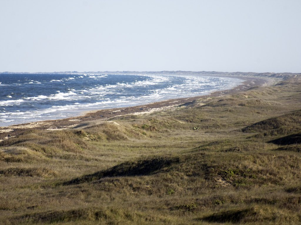 The Devil's Elbow, Padre Island National Seashore. This is that point where the Texas Coast trends from Northeast to south; the big bend of coastal Texas.
